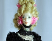 Vintage Handmade Miniature Doll - Doll House Madame Dressed in 18th Century Clothing