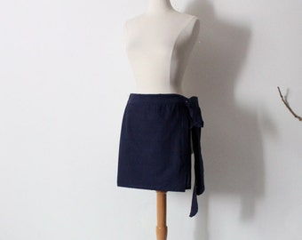 mini navy cotton wrap skirt ready to wear