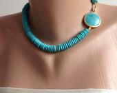 Turquoise Heishi Necklace,turquoise pendant, large turquoise pendant, turquoise pendant necklace ,stone pendant , turquoise jewelry,choker