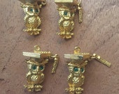 Vintage deadstock green eyed owl graduate charms a lot of 4