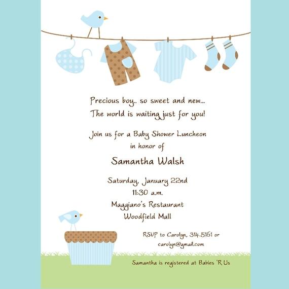 boy clothesline baby shower invitation printable invitation design