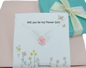 Flower Girl Necklace, Pink Rose Jewelry, Junior Bridesmaids Jewelry, Thank you Gift, Message Card