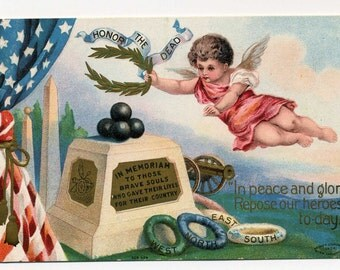 Memorial Day  Postcard - Angel - Laurel Wreath - 1908