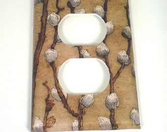 Outlet  Switch Plate Light Switch Cover  Wall Decor  Switchplate  in Salix Tan (280O)