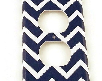 Wall Decor Outlet Plate  Switch Plate Switchplate in Navy Chevron   (208O)