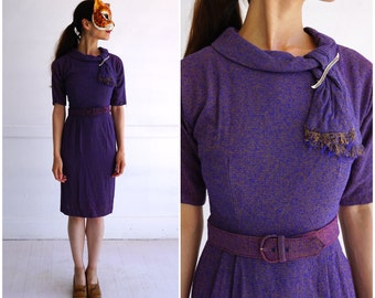 Vintage 60's Fitted Purple and Gold Tweed Wiggle Dress with Neck Scarf  | XS