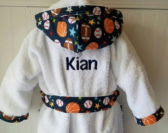Child-Robes-Boy-Bath-Boys-Robe-Blue-Sports-Football-Baseball-Basketball-Sleepwear-Childrens-Spa-Beach-Towels-Hooded-Swim-Suit-Terry-Cover Up