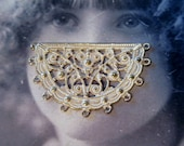 Gold Plated Frosted White Patina Brass Half Circle Ornate Filigree 11 rings  807WHT x2