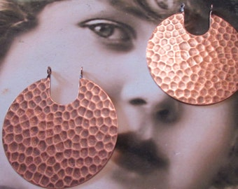 Copper Ox Plated Hammered Round Brass Connectors 429COP  x2