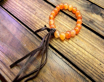 Indian Summer, Western Cowgirl Southwestern Boho Orange Agate Stretch Bracelet- Leather Tassel Bracelet- Stretch Bracelet- Stone Bracelet