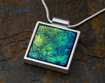 Fused Glass Pendant by BluDragonfly SRA - Fireworks