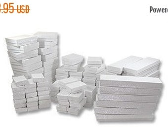 Pre Holiday Stock Up Sale 50 Box Assortment White Cotton Filled Jewelry Presentation Boxes