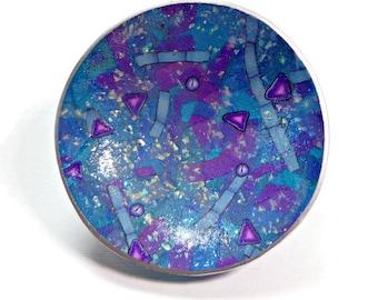 Purple Opal Wedding Ring Holder- Handmade Ring Dish- polymer clay Ring Dish- Personalized Ring Dish- Fantasy Fairy Ring Dish