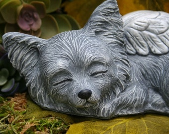 Papillon Angel Dog Statue - Continental Toy Spaniel - Papillion Butterfly Ears - Dog Memorial Sculpture - Concrete Garden Decor