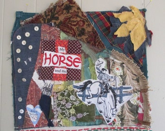 horse & cowboy - Vintage  Fabric Collage - Altered Art Quilt - Recycled Linens Antique Materials // mybonny random scraps