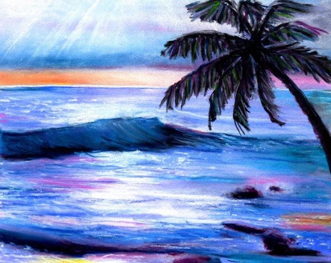 Hawaiian Sunset Print - 8 x 10 Giclee Art Print - Kauai Beach Shore Art - Heavenly Hawaiian Sunset - Kauai Art Prints - Hawaii Seascape Art