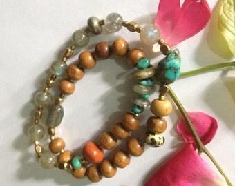 Shamanic Sandalwood Infinity Yoga Wrap Bracelet