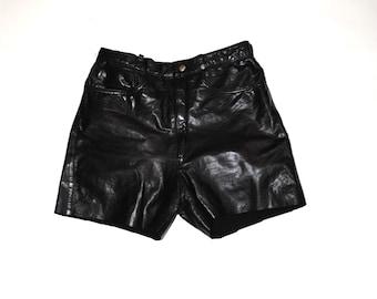genuine leather shorts 90s minimalist black leather high waist shorts size 24 25
