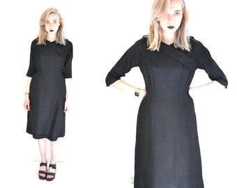 black 1950s dress 50s vintage black silk dress MINIMAL mid century little black dresses LBD size medium