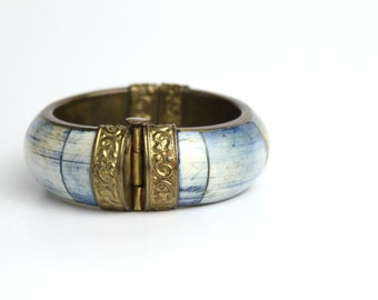 Vintage Boho Bracelet | Dyed Bone and Brass Bracelet | Boho Gold Bangle | Tribal Metalwork Bracelet