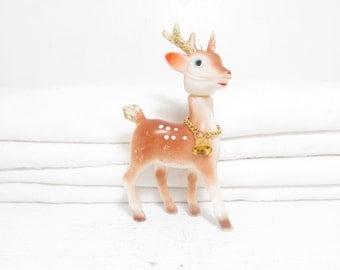 Vintage Reindeer Figurine . 1950's Christmas Decoration . Glitter Antlers . Plastic Deer . Holiday Decor