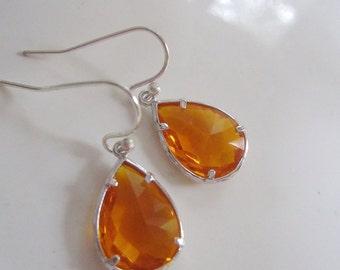 Tangerine Earrings, Silver Earrings, Orange Glass Dangle, Silver Edged, Bridesmaid Earrings
