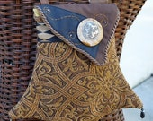 Celtic Horses Stone Adornment Fancy Tapestry Pocket in Earthy Tones Shoulder Bag