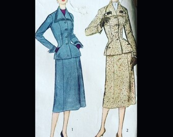 Vintage 50s Super Fitted Nipped Waist Day Suit Sewing Pattern w/ Gored Skirt 8428 B40