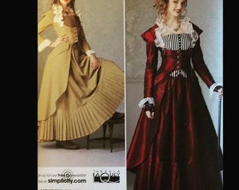 Theresa Laquey Pleated Skirt Button Front Steampunk Wench Victorian Costume Walking Suit Sewing Pattern 2172 14 16 18 20 22
