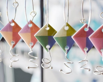 Kite Earrings, colorful fun jewelry, choose your color.