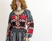 AYITA - Size MEDIUM - Southwestern Navajo Inspired Print Peasant Style Maxi Dress