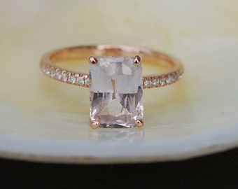 Blake Lively ring Peach Sapphire Engagement Ring emerald cut 14k rose gold diamond ring 2.67ct sapphire ring