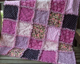 baby girl rag quilt accent throw  shower stroller crib blanket Pink and black Roses country folk art urban style