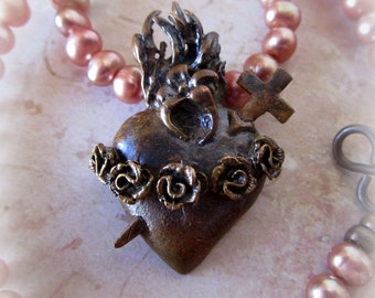 Heart of Mary Bronze and Freshwater Pearl Necklace