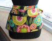 Vendor Apron Server Apron Cash Apron Travel Apron  Zipper Black Cotton Twill Abstract Flowers