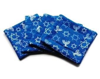 Handmade Quilted  Coasters set of 4 Hanukkah Blue Menorah Star of David Chanukah
