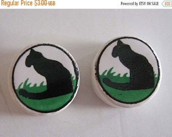 ON SALE Black Cat Beads Kitty Beads Ceramic Round Large Hole Disk Beads 12x12mm 6 Beads
