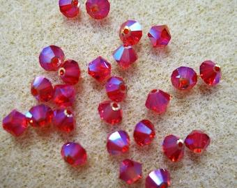 25 Light Siam AB 2X 5301 Bicone Swarovski Crystal Beads 4mm