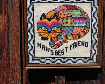Grumpy Cat. Vintage  1970s framed needlepoint picture. Man's Best Friend.