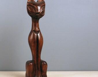 Mid century wood tiki cat figurine.