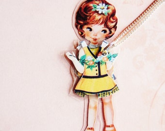 Daisy Laminated Paper Doll Necklace