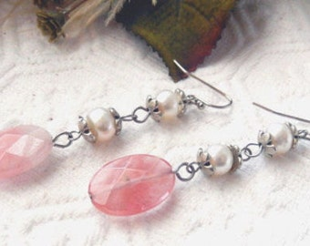 SALE.......One of a Kind Sterling Silver, Pearl and RARE Transparent Rhodochrosite Earrings
