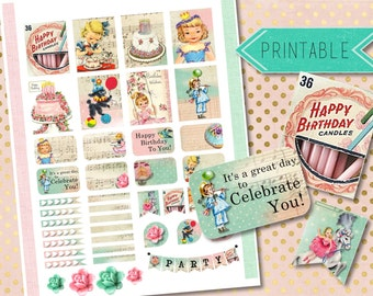 Birthday Shabby and Vintage Printable Stickers for Erin Condren Life Planner/Happy Planner INSTANT DOWNLOAD
