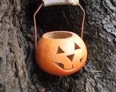 Vintage Gourd Basket Jack O Lantern Ornament Halloween