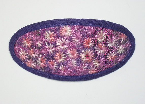 Hair barrette, hair slide, french clip: Art Piece. Altered fabric with hand and machine embroidery.