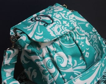 "7"" Mid Size Teal Personalized Monogrammed Custom Camera Bag Strap Cover Set by Watermelon Wishes"