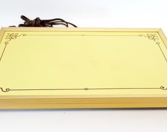 vintage | mod yellow brown electric warming tray | large