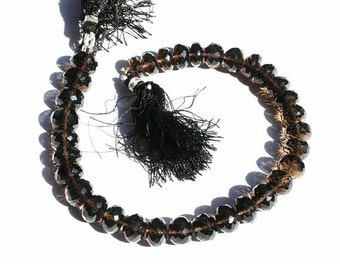 55% OFF SALE 1/2 Strand - Finest Quality Smoky Quartz Micro Faceted Rondelles Large Size 10 - 11mm approx