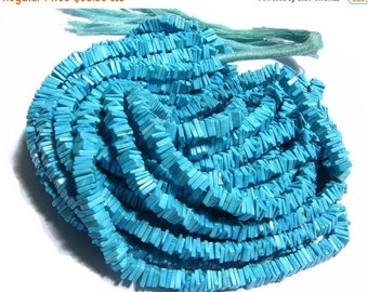 55% OFF SALE 1/2 Strand 8 Inches -  Finest Quality Turquoise Square Heishi Cut Beads Size 5.5 - 6mm approx