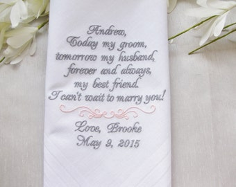 From Bride to Groom Personalized Wedding Handkerchief